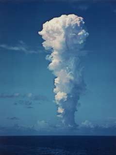Atomic Bomb Mushroom Cloud After Test at Bikini Island Premium