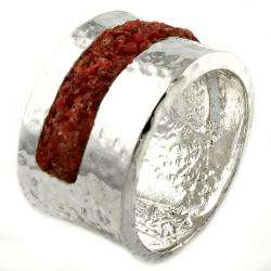 Sterling Silver Coral Wide Band Ring