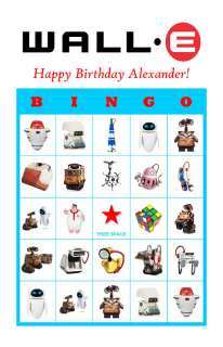 Wall.E Birthday Party Game Bingo Cards