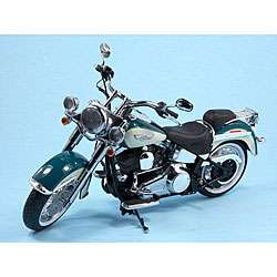 Harley Davidson Softail Deluxe Deep Turquoise Die Cast Motorcycle