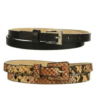 Steve Madden Womens Snake Skin Print Skinny Belt (Set of 2
