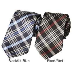 Ben Sherman Mens Plaid Skinny Silk Tie