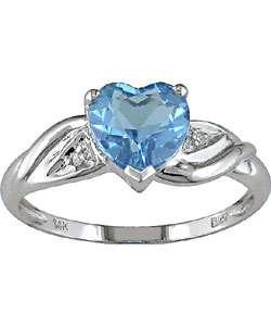 10k White Gold Diamond Blue Topaz Ring
