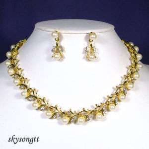 Bridal Crystal Pearl Gold Necklace Earrings Set S1526Y
