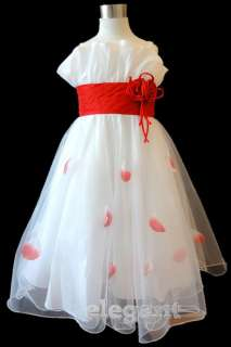 White Red Wedding Flower Girl Party Dress Gown Age 2 13