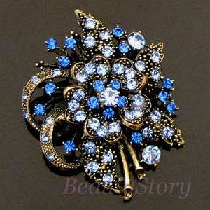 SHIPPING antiqued rhinestone crystal flower brooch pin bouquet