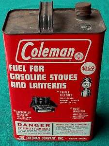 Coleman One Gallon Lantern Fuel Can Stove Antique Cooking Tin Camping
