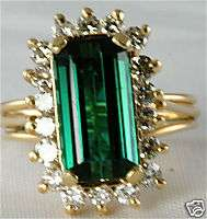 VINTAGE 14K GOLD 4 CARAT GREEN TOURMALINE DIAMOND RING