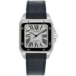 Cartier Mens Santos Black Leather Strap Watch