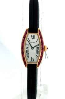 Cartier 18k Yellow Gold Pink Sapphires Ladies Watch.