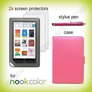 Leather Case Cover+2 Screen Guard + Stylus for Nook Tablet / Color