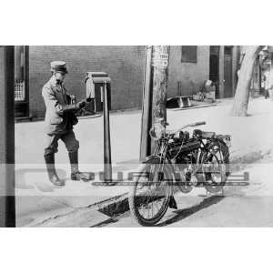 Early 20th Century US Mail Man and his Motorcycle (24 x 36