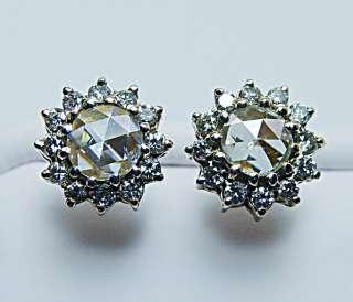 5ct Champagne Rose Cut Diamond Earrings 14K Gold Estate Jewelry