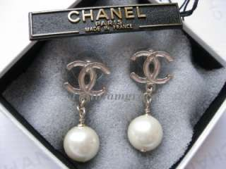 AUTHENTIC CHANEL LARGE CC LOGO PEARL DROP PINK EARRINGS