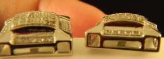 Diamond Men Earrings In Square shape White Gold Finish Pave Settings