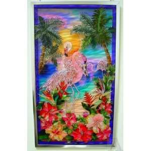 Pink Flamingo Tropical Stained Glass Window Art Panel