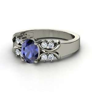 Gabrielle Ring, Oval Sapphire Platinum Ring with Diamond Jewelry
