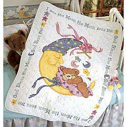 Mr. Moon and Me Crib Cover Stamped Cross Stitch Kit