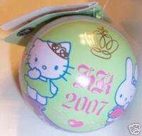 NW 2007 HELLO KITTY COUTURE CHRISTMAS ORNAMENT TIN BALL