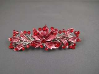 Red crystal floral flower painted barrette hair clip