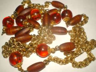 Vint. sign HOBE PATENT Goldtone ROOTBEER BEAD Necklace