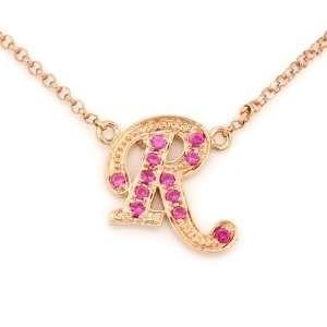 18K Rose Gold Character R Pave Setting Pink Sapphire Milgrain Design