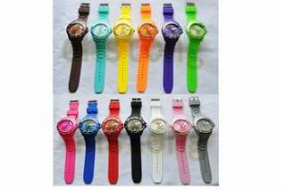 new colorful ice Calendar Wheel Silicone Jelly Date Wrist Watch 1pc