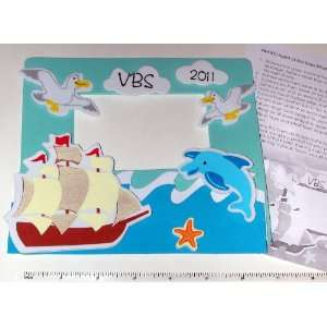 Seas Sailing Ship Pirate VBS Photo Frame Magnet Craft Kits ~ Foam 7