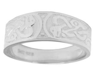 New Mens Silver Irish Celtic Wedding Ring Band