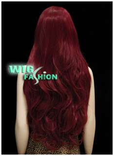 New Fashion Dark Red Curly Hair Wig MB80