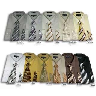 Mens Milano Moda Set 1 Dress Shirt with Matching Tie and Handkerchief