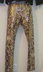 Romeo and Juliet Couture Metallic Brown Beige Snakeskin Print Leggings