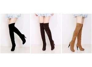 Black Brown Beige Velvet Over Knee High Heels Women Boots US Size 5 6