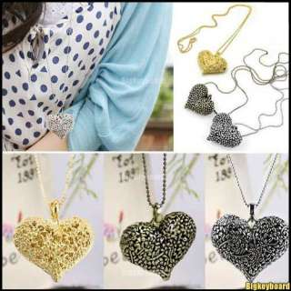 New Retro Vintage Bronze Heart Flower Pendant Necklace