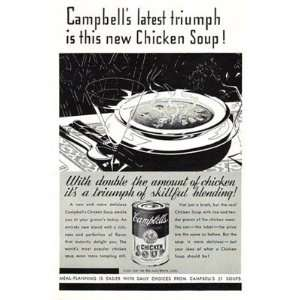 Ad: 1933 Campbells Chicken Soup: Campbells Latest Triumph: Campbell