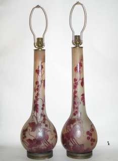 Pair Matching French Legras Cameo Glass Table Lamps