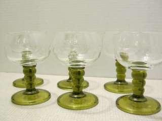 Vintage Spool Stemmed Etched Glass Goblets, Green Stem, Clear Bowl