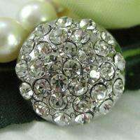 Sparkling Clear Crystal/Rhinestone Round Buttons N086