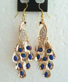 COLORS SWAROVSKI CRYSTAL GOLD SILVER PEACOCK HOOK EARRINGS 1428