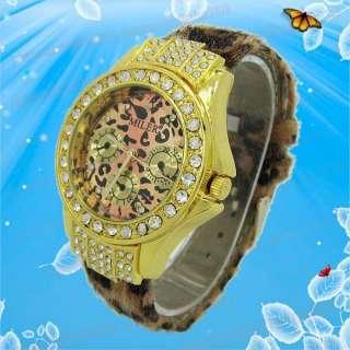 Leopard Leather Crystal Golden Dial Ladies Women Wrist Watch M688J