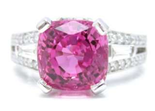 3CT CUSHION CUT PINK SAPPHIRE DIAMOND ENGAGEMENT RING
