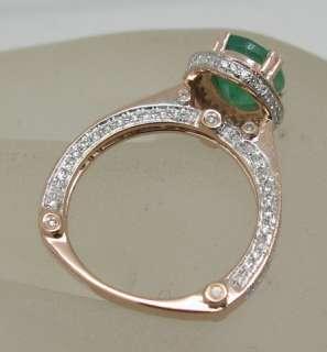 SOLID 14K ROSE GOLD NATURAL EMERALD & VS/G DIAMOND RING |