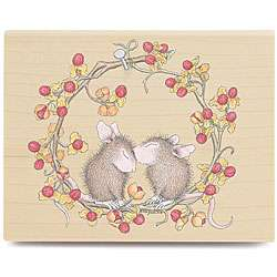 House Mouse Wreath Love Wood mounted Rubber Stamp