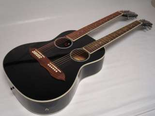 String Acoustic Electric Double Neck Guitar, Two Hole, Black, /w Case