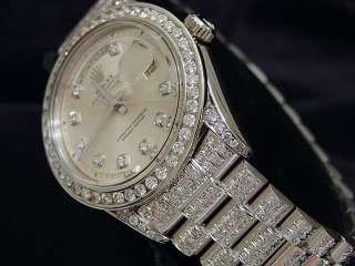 MENS ROLEX 18K WHITE GOLD DAY DATE PRESIDENT w/DIAMONDS