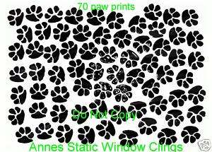 70 CAT PAW PRINTS STAINED GLASS LOOK WINDOW CLING DECAL