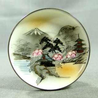 JAPAN KUTANI HAND PAINTED PORCELAIN CHINA PLATE ~PAGODA