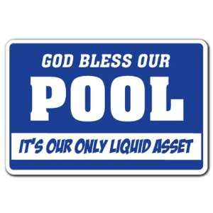 BLESS OUR POOL Warning Sign swimming funny signs Patio, Lawn & Garden