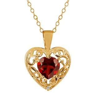 0.91 Ct Heart Shape Red Garnet Sapphire Gold Plated