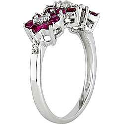 10k Gold Diamond Ruby and White Sapphire Ring